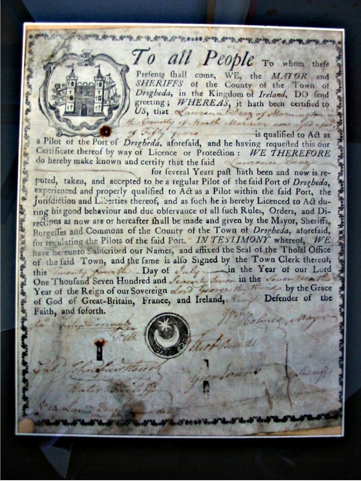 Drogheda Port Pilot Certificate dated 1777 issued to Laurence Deaz